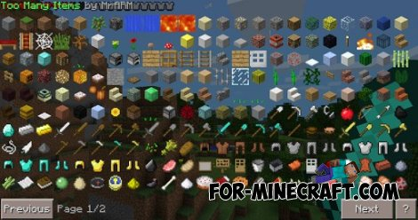 TOOMANYITEMS mod for Minecraft PE 0.10.4