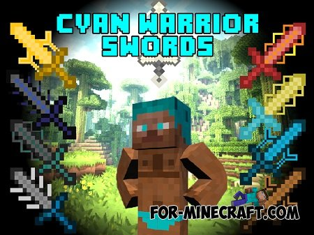 Cyan warrior sword mod for Minecraft PE 0.10.5