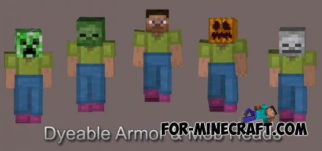 Dyeable Leather Armor & Mob Heads Mod for MCPE 0.10.5/0.11.0