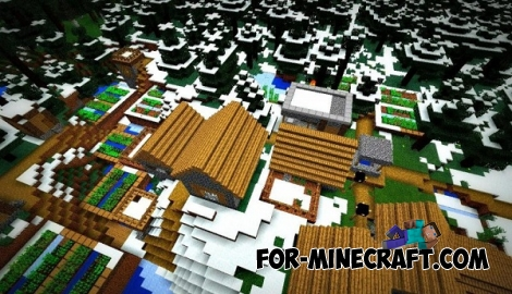 The village (snowy forest) seed for Minecraft PE 0.12.1
