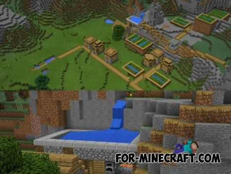 Mountain village and the pool seed for Minecraft PE