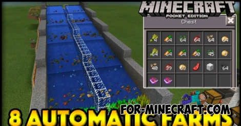 8 Automatic Farms map for Minecraft PE 0.15.0/0.15.1