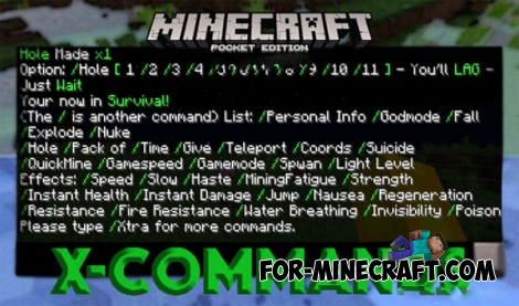 X-Commands mod for Minecraft Pocket Edition 0.15