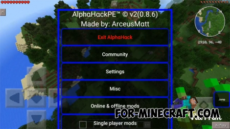 AlphaHack for Minecraft PE (+Realms)