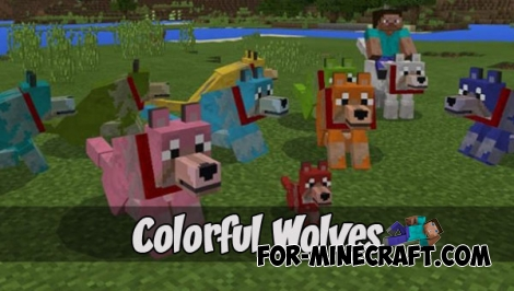Colorful Wolves (+More Wolves) (Minecraft PE 1.2)
