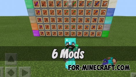 6 Mods in 1 (Modpack) for Minecraft PE - Bedrock