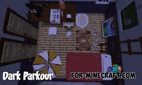 Dark Parkour map for Minecraft PE Bedrock 1.2