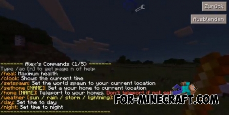 Alex's Commands mod for MCPE 1.2+