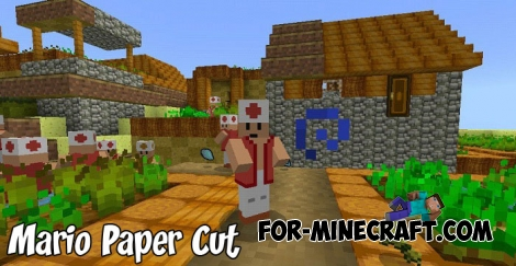 Mario Paper Cut texture pack for Minecraft BE 1.2/1.5