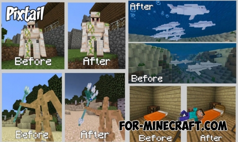 Pixtail textures for Minecraft BE 1.2/1.5