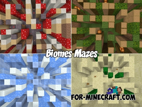 Biomes Mazes map for Minecraft BE 1.2/1.6