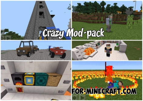 Crazy Mod-pack for Minecraft PE 1.2/1.6+ (19 in 1)
