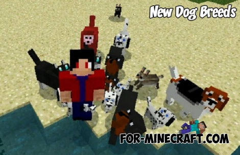 New Dog Breeds addon for Minecraft PE 1.5/1.6