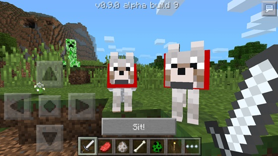 Wolfs and Dogs in Minecraft Pocket Edition 0.9.0