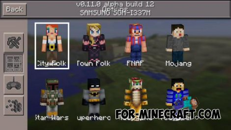 New skin packs for Minecraft PE 0.11.0 (addon)