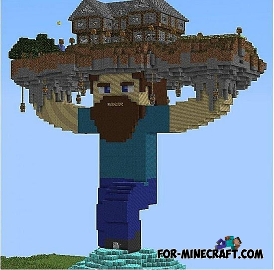 Steve Holding House Map for MCPE 0 11 1 / 0 11 0