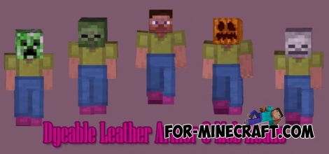 Dyeable leather armor and mob head mod for MCPE 0.11.X