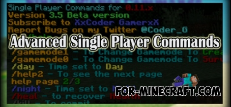 Advanced Single Player Commands mod for Minecraft PE 0.11.1 / 0.11.0