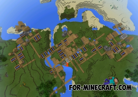 Four villages seed in Minecraft PE