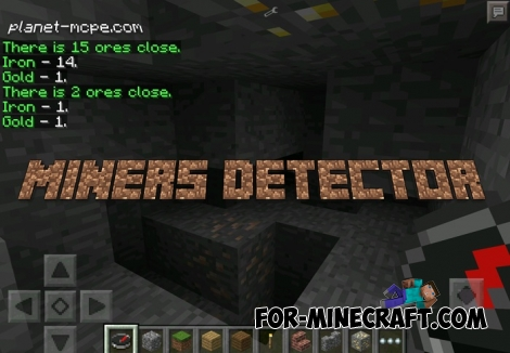 Miners Detector mod for Minecraft Pocket Edition 0.12.1