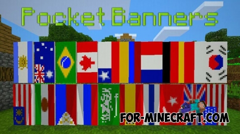 Pocket Banners mod for Minecraft Pocket Edition 0.15.6