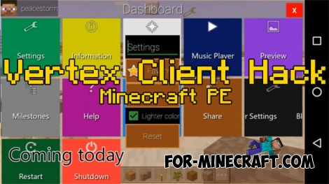Vertex Client Hack v3.0 for Minecraft PE 0.16.2/1.2