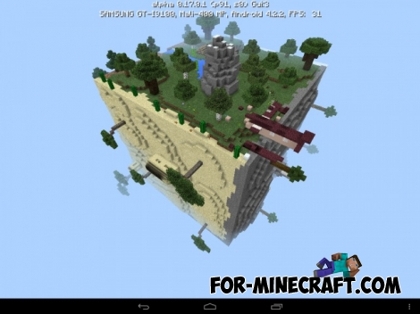 Square planet Survival map for Minecraft PE 1.0 / 0.17.0
