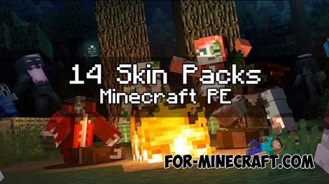 14 skin packs (more than 200 skins) for Minecraft PE