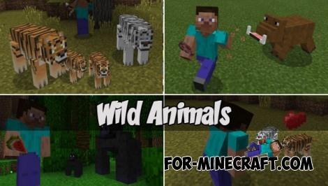 Wild Animals addon for Minecraft PE 1.1+