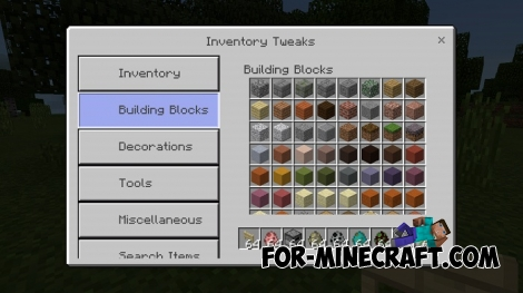 Inventory Tweak addon v1.1.1 (MCPE 1.1+)