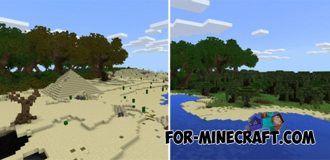 Several Biomes Island map for Minecraft PE