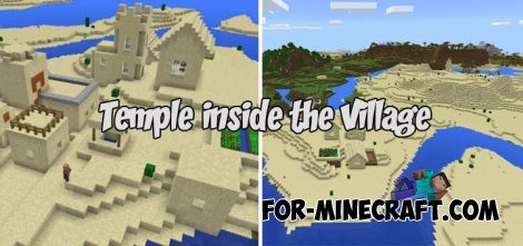 Temple inside the Village seed for Minecraft Bedrock (1.2)