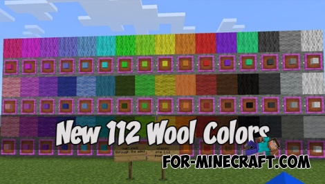 New 112 Wool Colors textures (MCPE 1.2)