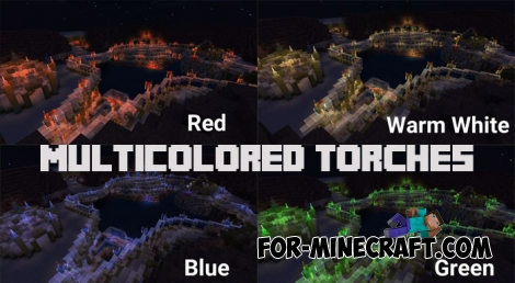 MultiColored Torches (+shader) for Minecraft PE