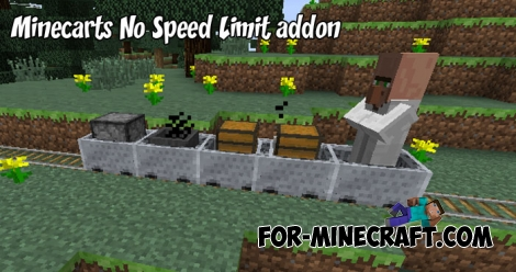Minecarts No Speed Limit addon for MCPE 1.2