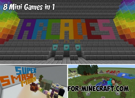 8 Mini Games in 1 map for MCPE 1.2