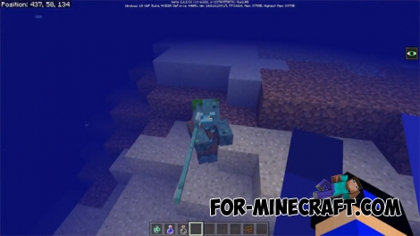 Tridents in Minecraft 1.2.13.8 (Update Aquatic)