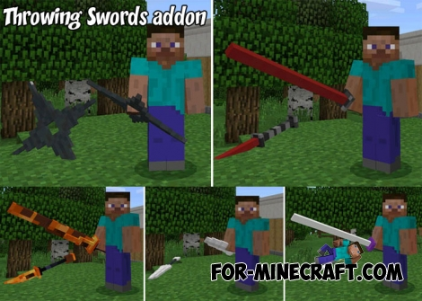 Throwing Swords addon for MCPE 1.2.13.10+