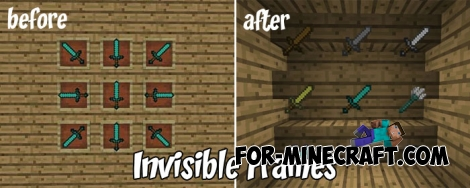 Invisible Frames pack for MCPE 1.X
