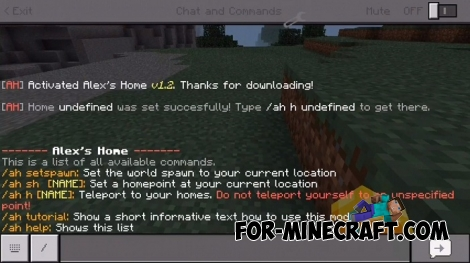 HomePoints mod for Minecraft PE 1.2+