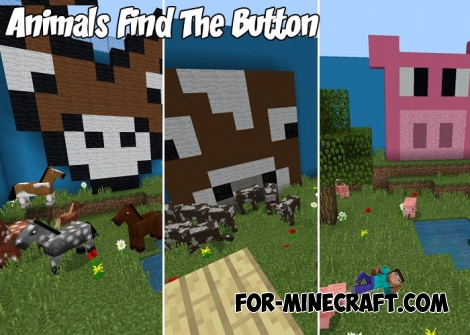 Animals Find The Button map for Minecraft BE 1.2+