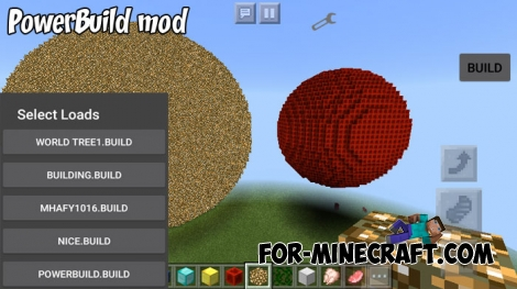 PowerBuild mod for Minecraft Pocket Edition 1.4+