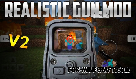 Realistic Gun mod for Minecraft Bedrock Edition 1.4+