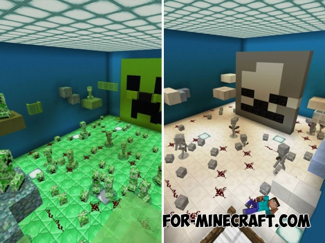 Mobs Classes Parkour map for Minecraft PE 1.5+