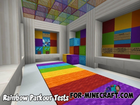 Rainbow Parkour Tests map for MCPE 1.5/1.7+