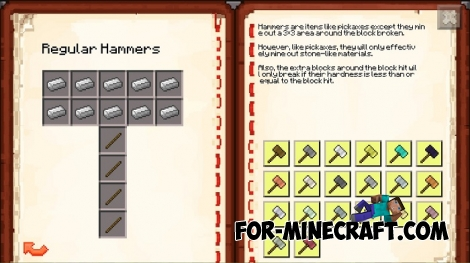 Sparks Hammers mod v2.0 for Minecraft PE