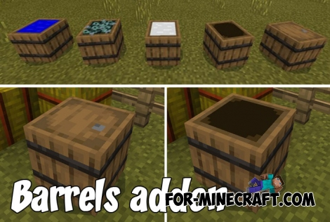 Barrels addon for Minecraft PE 1.9+
