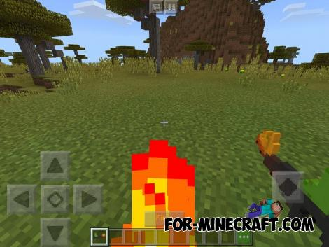 Flamethrower Addon for Minecraft PE 1.8/1.9
