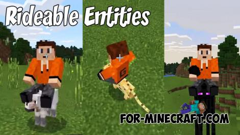 Rideable Entities Addon for Minecraft PE 1.8/1.9