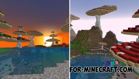 Mushroom World Map for MCBE 1.11